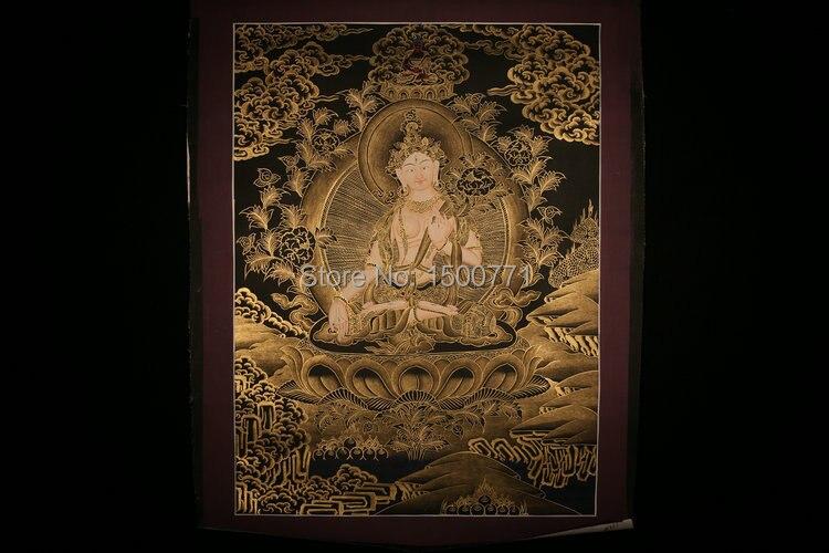 Spot Mandala Thangka moines tibétains peint noir or peint salon den mur blanc Tara 50*37