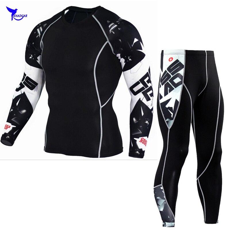 Chaude MMA Mens Compression Shirt Pantalon Set Entraînement Remise En Forme Sport Musculation Maigre Serré Manches Longues Chemises Leggings Costume