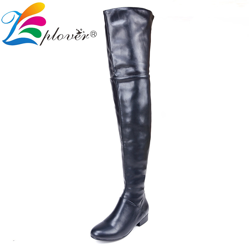 Ladies Winter Boots Women Over The Knee Thigh High Genuine Leather Boots Keep Warm Fur Winter Shoes Woman Botas Zapatos Mujer