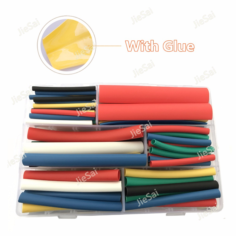 102 Pcs Heat Shrinkable Tube Tubing 6 Size 6 Colour 3/1 3:1 With Glue Insulation Wrap Sleeving Dual Wall Tube Car Cable