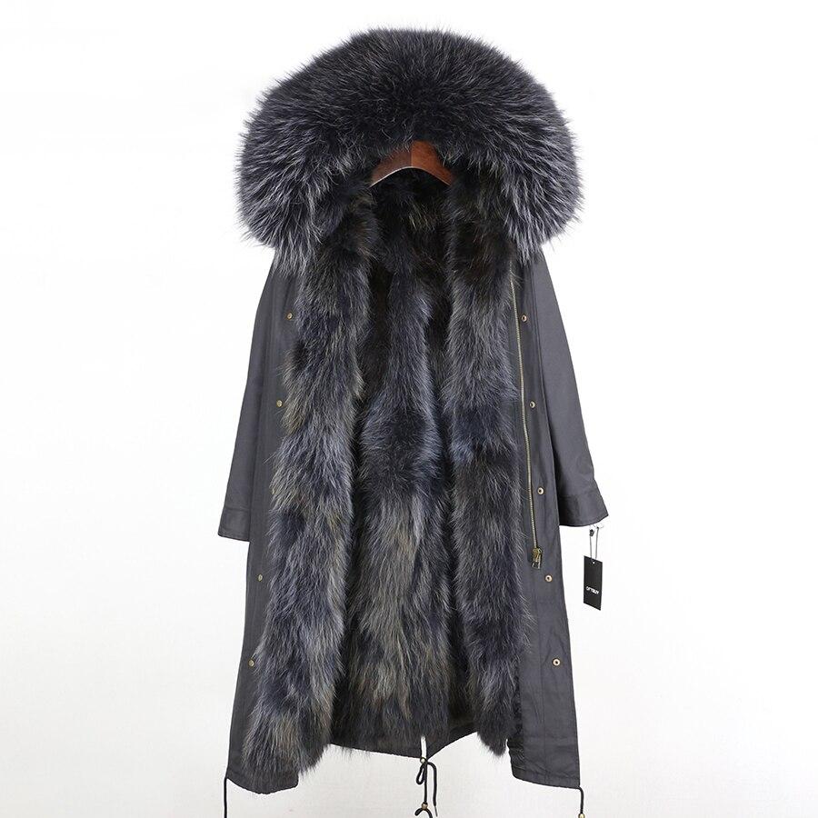 2019 Real Fur Coat Winter Jacket Women Long Parka Waterproof Big Natural Raccoon Fur Collar Hood Thick Warm Real Fox Fur Liner 115