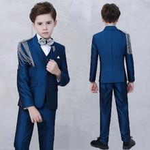 цена на 2019 Hot sale boys suit blazer kids wedding suit set boys fashion suit set boy suits formal costume enfant garcon mariage
