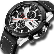 ساعة أنيقة عادية رجالي جلدية كرونوغراف ساعات يد رياضية CURREN 2018 العلامة التجارية الجديدة موضة مقاوم للماء Montre أوم الأسود