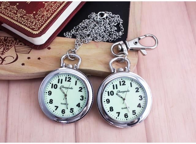 40mm dial Retro Steel Silver Case White Dial Analog Quartz Relogio Necklace  Key Pendant Chain Men Pocket Watch