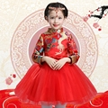 2017 spring costumes red chinese style costume traditional dress kids girl dress cheongsam dress children princess kids clo
