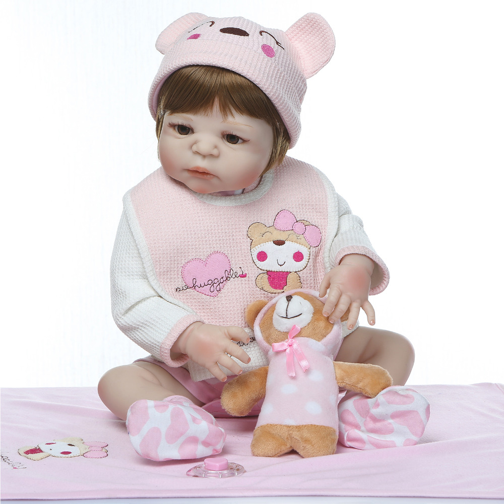 Nicery 22inch 55cm Bebe Reborn Doll Hard Silicone Boy Girl Toy Reborn Baby Doll Gift for Child Pink Bib Pink Blanket Baby DollNicery 22inch 55cm Bebe Reborn Doll Hard Silicone Boy Girl Toy Reborn Baby Doll Gift for Child Pink Bib Pink Blanket Baby Doll