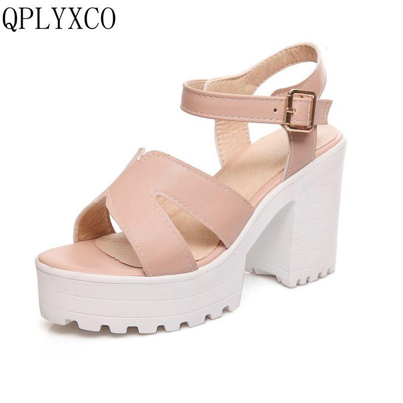 QPLYXCO 2017 New Big size 34-46 Women Sandals fashion Vintage Ankle Straps Summer Shoes Thick High Heels Platform Sandals 9950