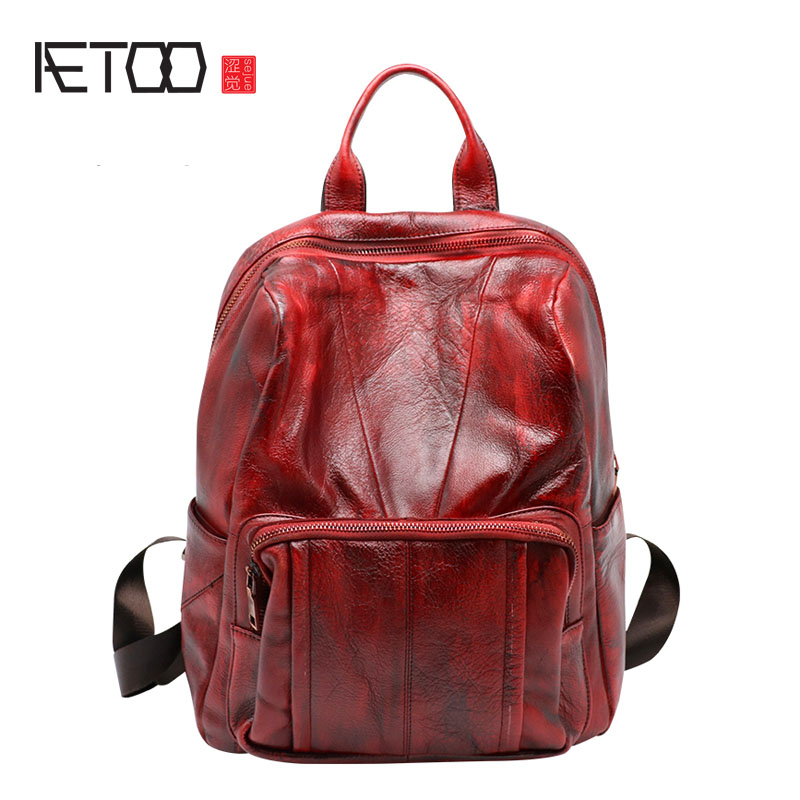 AETOO Backpack female new retro shoulder bag hand  large capacity leather bag simple wild decleor fancy 250ml 38215