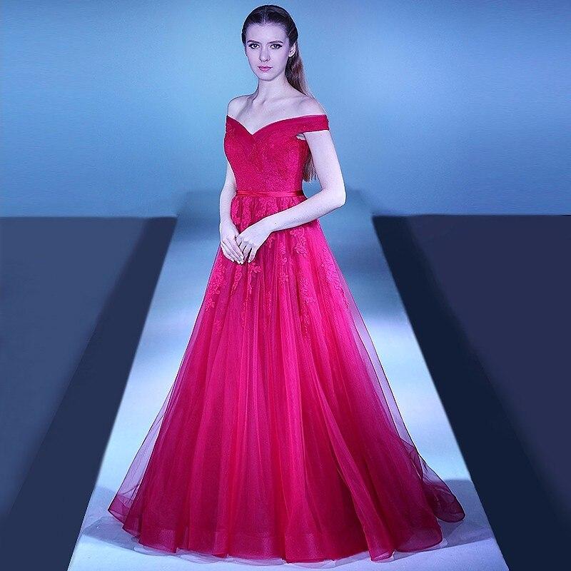 Robes de festa 2019 Sexy hors de l'épaule une ligne robes de bal Gala jurken à lacets dos rouge robes de soirée pour robe de soirée