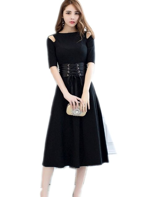 2017 New Fashion Autumn Dresses Elegant Women half Sleeve O-Neck Casual Hollow out Knitted Dress Vestidos De Festa