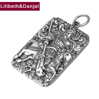 2019 Birthday present Pendant 100% S990 Sterling silver Jewelry Men Buddha Mantra Amulet Necklace Pendant Jewelry making P29