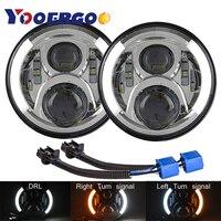 1 Pair 50W Brightest Blue Projector Lens 7inch LED Headlights Amber Turn Signal/DRL for Jeep Wrangler JK LJ TJ CJ