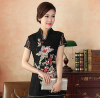 High Quality Black Embroidery Female Cotton Shirt Chinese Traditional Women Summer Lace Blouse Flower S M