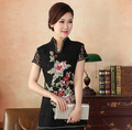 High Quality Black Embroidery Female Cotton Shirt Chinese Traditional Women Summer Lace Blouse Flower S M L XL XXL XXXL WS065