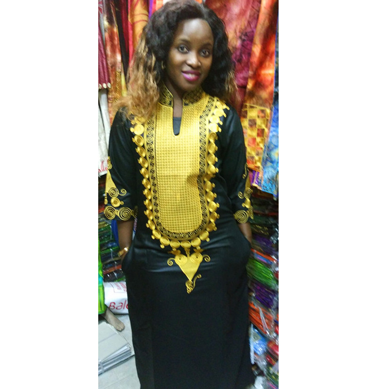 African bazin embroidery dresses long dress without scarf