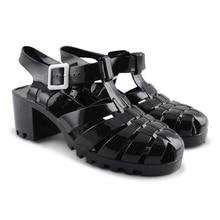 2017 de moda de verano sandalias de La Jalea zapatos de las mujeres de moda femenina mediados tacones altos flip flop personalizada sandalias de Gladiador Zapatos