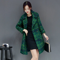 Women Autumn Winter Wool Blends Coat Slim Long Tweed Jacket Outwear Fashion Female Lapel Overcoat Thick Ladies Jacket Coat