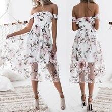 Party Halter Floral Print Off Shoulder Mesh Dress Women Summer Organza  Butterfly Sleeve Mid-Calf Dresses Strapless Vestidos Robe db2f539e51b5