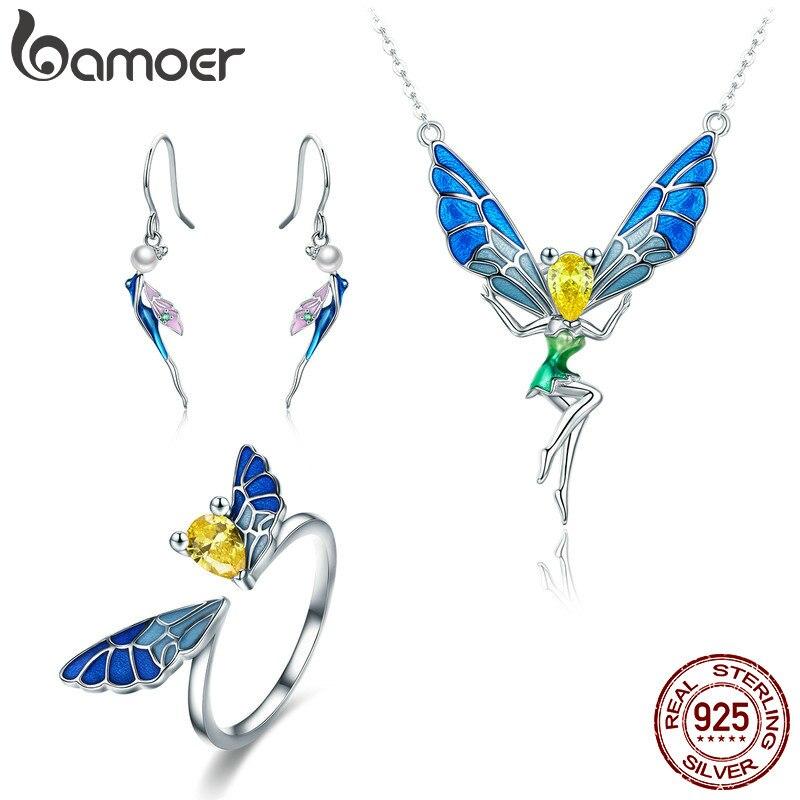BAMOER 100% Réel 925 Sterling Argent Forêt Fée Coloré Cristal CZ Femmes Bijoux Set Bijoux En Argent Sterling Cadeau ZHS061