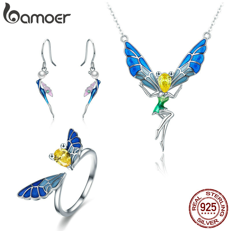 BAMOER 100% Real 925 Sterling Silver Forest Fairy Colorful Crystal CZ Women Jewelry Set Sterling Silver Jewelry Gift ZHS061 bamoer real 100