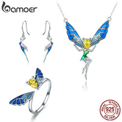 BAMOER 100% Real 925 Sterling Silver Forest Fairy Colorful Crystal CZ Women Jewelry Set Sterling Silver Jewelry Gift ZHS061