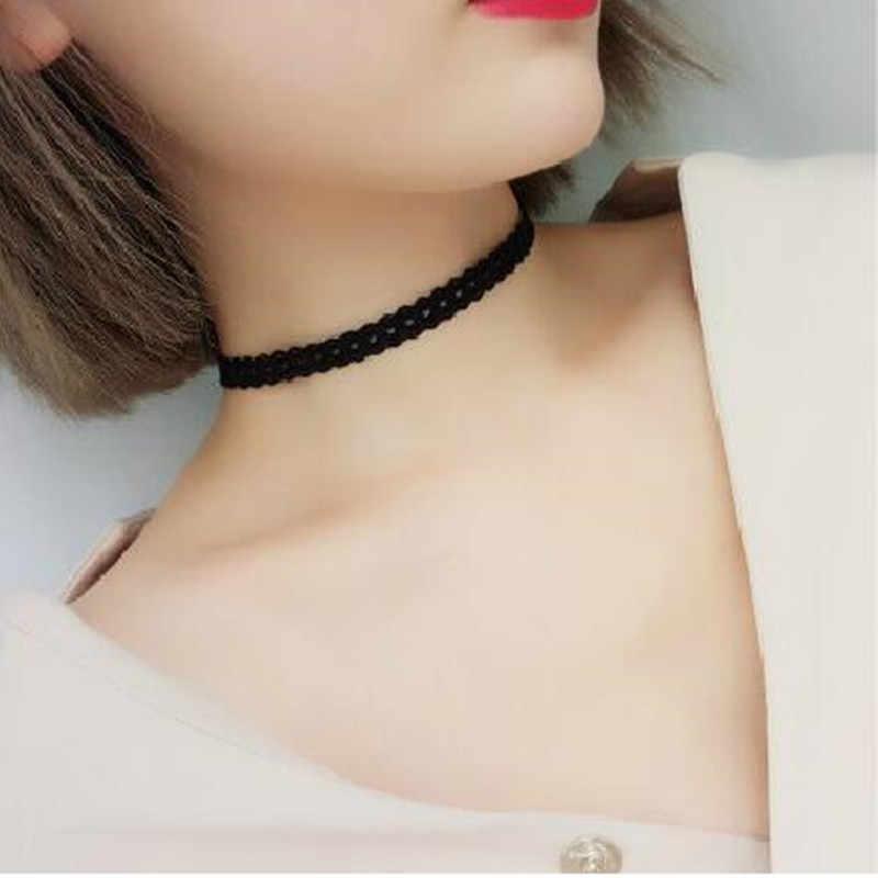 Sexy oco para fora preto laço gargantilha colar feminino elegante gótico gargantilha corrente moda curto colar acessórios por atacado