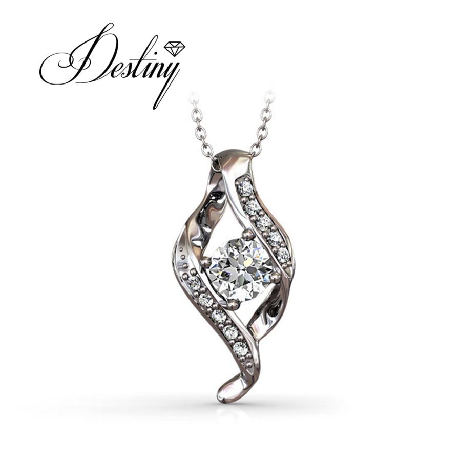 00ab32628e472 Destino Jóias Embelezado com cristais de Swarovski colar 925 pingente de  prata esterlina DP0048