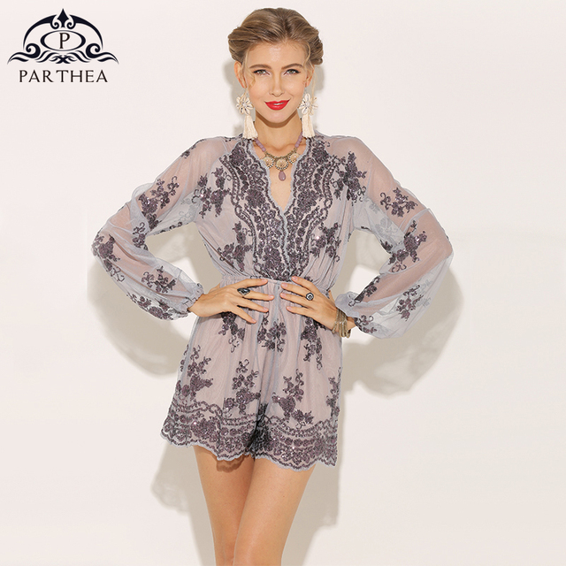 298b64663554 Parthea Plunge V-neck Sexy Sequin Playsuits For Womens Jumpsuit Long Sleeve  Romers Metallic Sheer