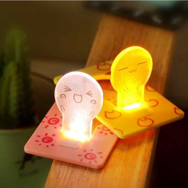 card size foldable 1 Pcs LED Night light Credit Pocket Lights Portable Cool Children's Lamp Decoration House