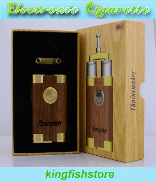 El más nuevo cigarrillo e mod con madera y cobre chainsmoker cigarrillo electrónico compatible con 510 atomizador 18650 batería