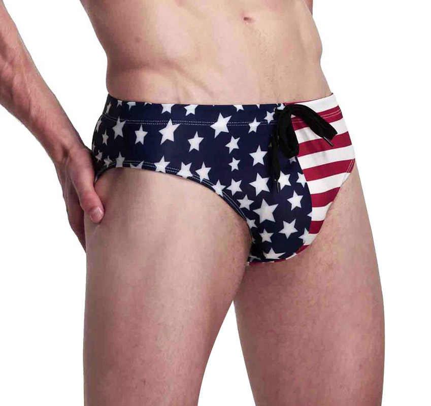 2019 lato nowa amerykańska flaga męskie Bikini stroje kąpielowe męskie kąpielówki męskie plażowe majtki Sexy krótkie basen majtki
