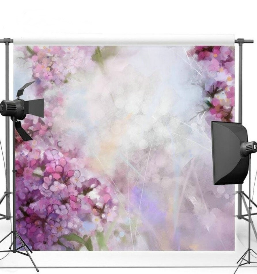 Bokeh Flowers Wedding: Bokeh Purple Flower Backdrop Vinyl Cloth High Quality