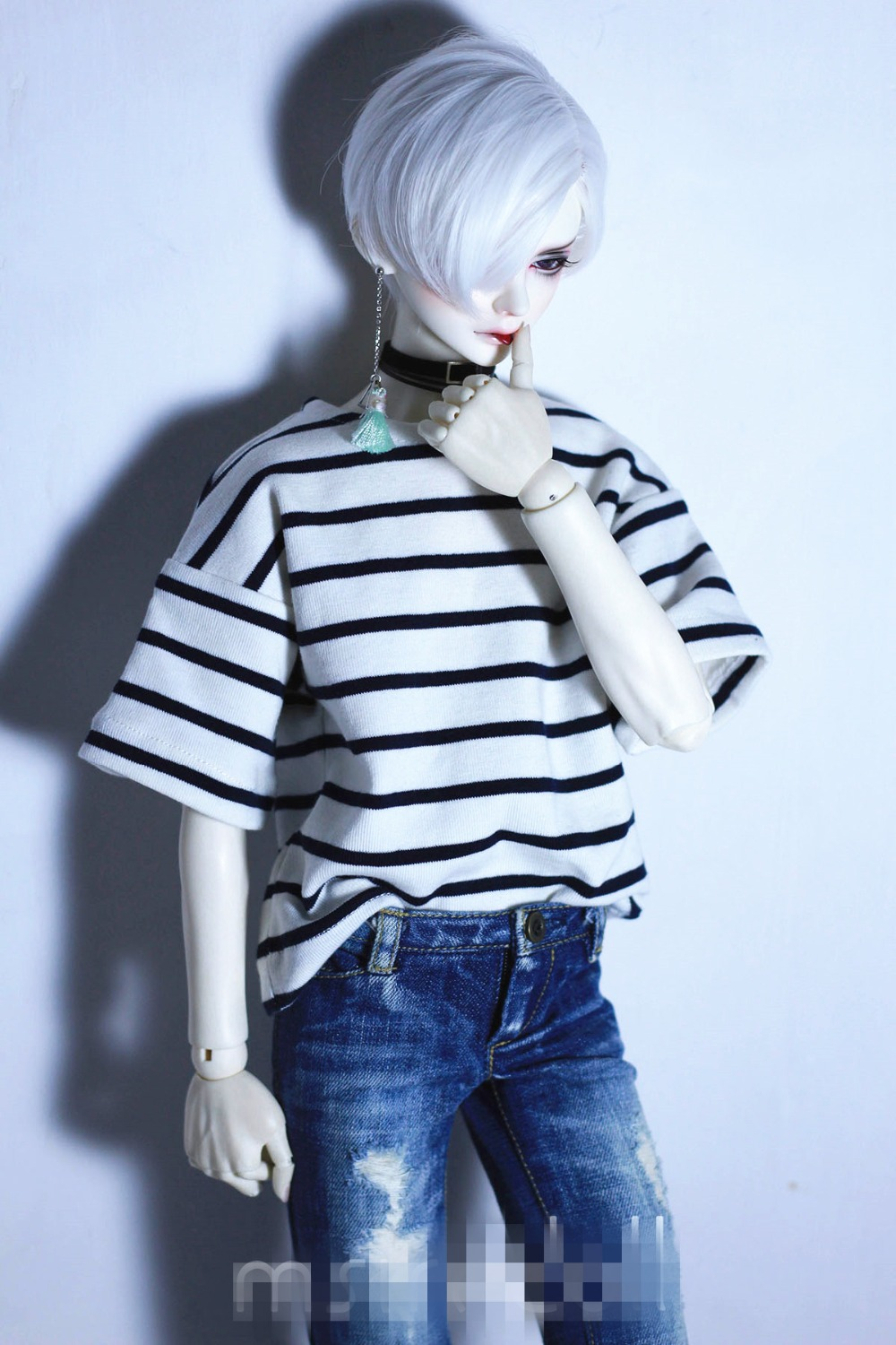 Black White Striped Sweater T-Shirt For 1//4 MSD 1//3 SD DZ SD17 BJD Dolls PF