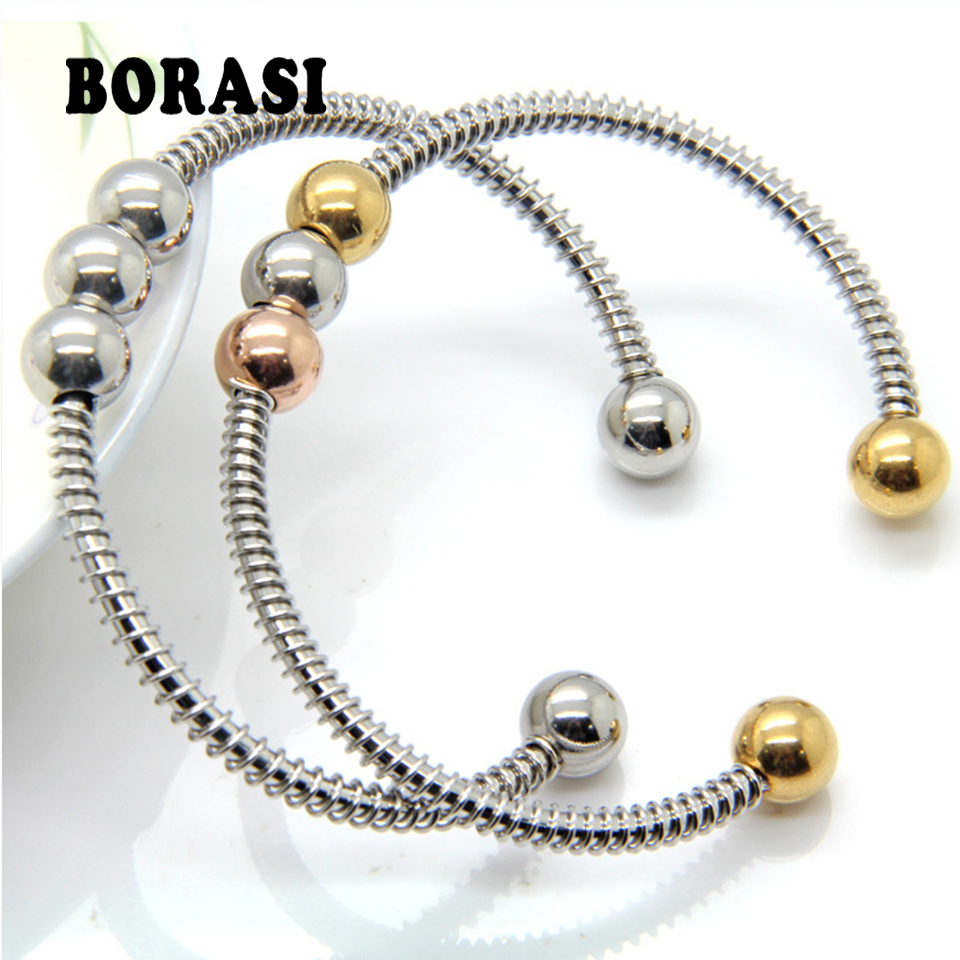 3-color glossy beads bracelet, stainless steel bracelet women simple personality clothing accessories