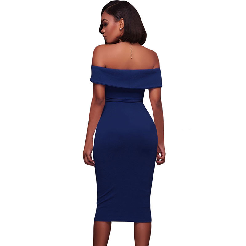 ADEWEL Women Sexy Off Shoulder Strapless Midi Dress Ruched Elegant Bodycon Dress Party Clubwear Pencil dress 42