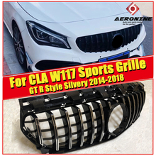 CLA W117 Sports grille grill GT R style ABS Silvery&&Chrome CLA180 CLA200 C250 CLA45 look Front Bumper Grills without sign 14-18