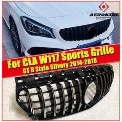 CLA W117 kratka sportowa grill GT R styl ABS srebrzysty i chrom CLA180 CLA200 C250 CLA45 wygląd grille przedniego zderzaka bez znaku 14 18 w Kratki wyścigowe od Samochody i motocykle na