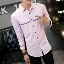 2017 spring men's casual shirt, high-quality men's long sleeves slim shirt large size Solid color lapel long sleeve shirt 5XL