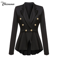 Chesmono Apparel Autumn Chic Black Button Suit Blazer Women Ladies Blazer Feminino 2017 Spring Coat Jacket