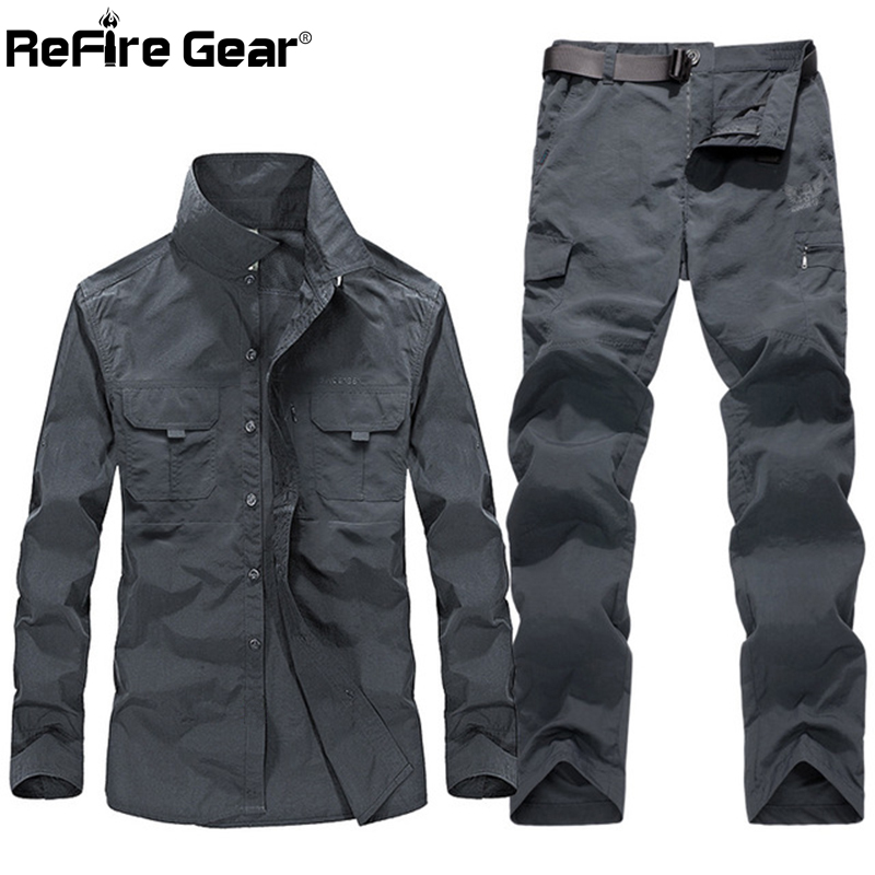 ReFire sprzęt wojskowy Tactical Uniform odzież mężczyzn Multi kieszenie bojowe armii koszule spodnie Cargo pracy polowanie Airsoft zestawy ubrań dla w Zestawy męskie od Odzież męska na AliExpress - 11.11_Double 11Singles' Day 1