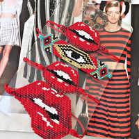 Go2boho MIYUKI pulsera de mal de ojo Pulseras mordidas labios rosa rojo Delica semillas cuentas tejidas a mano mujer joyería mujer moda