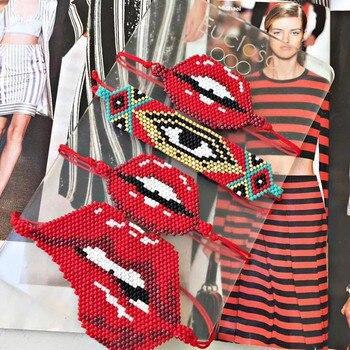 365aede8ced4 Go2boho MIYUKI pulsera de mal de ojo Pulseras mordidas labios rosa rojo  Delica semillas cuentas tejidas a mano mujer joyería mujer moda