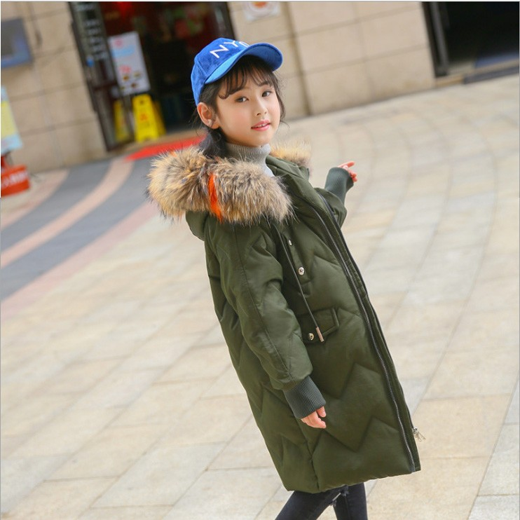 2018 girl boy real fur hooded down long coat jacket thickening kids big school child 6 7 10 14 Russia winter parkas clothing 2017 new design girl boy thick jackets real fur hooded long coat kids big girl for cold russia winter clothing dress overcoat