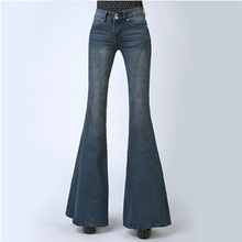 Woman New Autumn Slim Big Boot Cut Jeans Female Elastic Plus Size Denim Trousers Fashion Bell