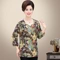 4xl más el tamaño multicolor mujeres de primavera Con Cuello En V Camisetas 2017 de manga larga sudadera camiseta femenina camisa de tes superior