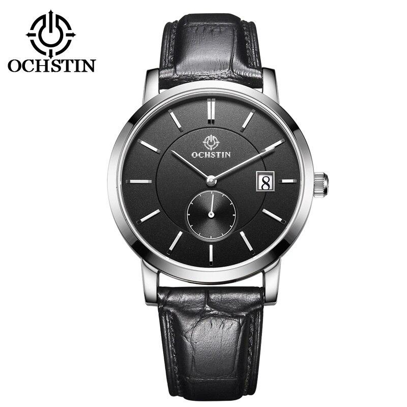 OCHSTIN топ модный бренд Для мужчин s часы кожаный ремешок Дата 5ATM спортивные часы Для мужчин Повседневное Роман масштаб Бизнес кварцевые наруч