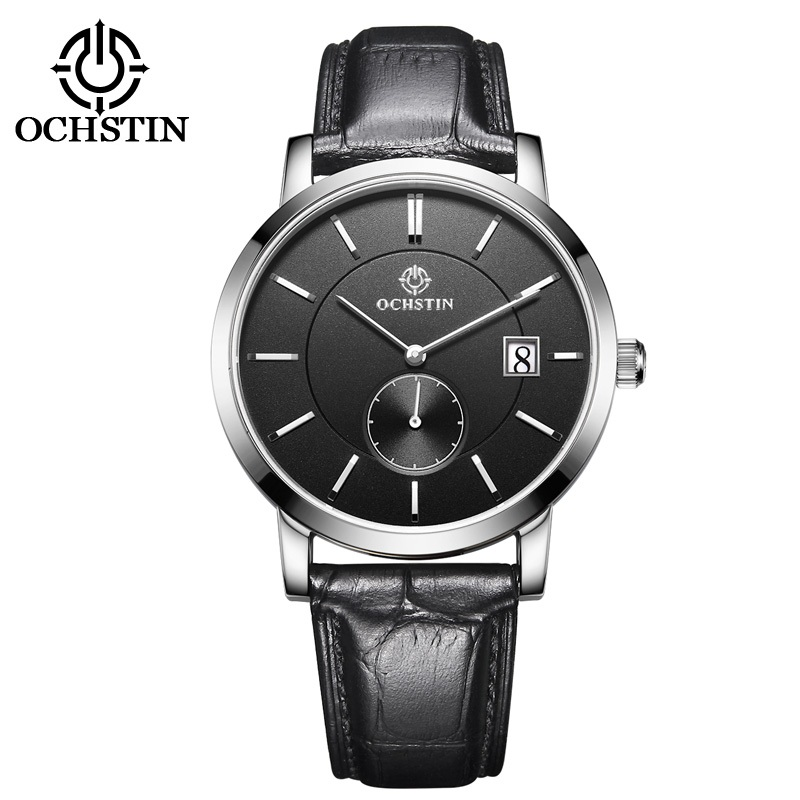 OCHSTIN Top Brand Fashion Mens Watch Leather Band Date 5ATM Sport Watches Men Casual Roman Scale Business Quartz Wrist watches the new eyki brand men s quartz watch fashion formal roman scale square dial leather strap wrist watches for men sport watch