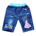 fashion cartoon sofia princess kids jeans,new 2014 summer casual girls shorts,retail children denim pants