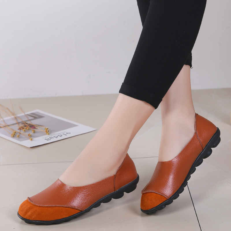 OZERSK Woman Genuine Leather Suede Flats Shoes Round Toe High Quality Loafers Shoes Fashion Daily Casual