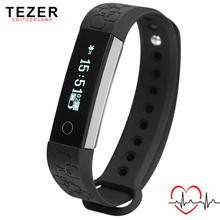 TEZER самые новые спорта на запястье Умный браслет для Android IOS Сигнализация часы Сердечного ритма Монитор Дистанционного Управления Шагомер